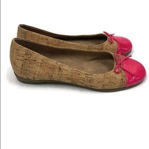 Aerosols Women's Cork and Pink Ballet Flats NWOT